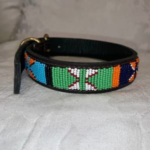 BEADED LEATHER DOG COLLAR NEVER WORN 18""